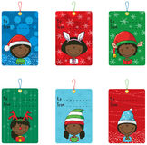 Christmas tags with funny kids. Collection of Christmas tags with funny kids Stock Photography
