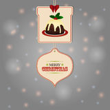 Christmas tags and pudding background Stock Photos