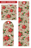 Christmas tags  with red poinsettia  background. Christmas tags with red poinsettia , holly and mistletoe pattern.Vintage background .For Backdrop,background Stock Photo