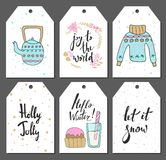 Christmas tags set with cute kettle, sweater, sweets and other items. Hand drawn style. Vector illustration Royalty Free Stock Photography