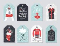 Christmas tags set, hand drawn style. Stock Photography