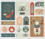 Christmas tags set, hand drawn style. Royalty Free Stock Photography