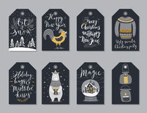 Christmas tags set, hand drawn style. Stock Photo