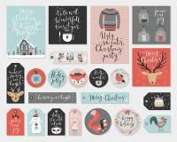 Christmas tags set, hand drawn style. Royalty Free Stock Photo