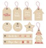 Christmas tags set, hand drawn style. Vector illustration. royalty free illustration