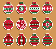 Christmas tags. Set of 12 Vintage Christmas which may be used as tags for gift or stickers Royalty Free Stock Photography