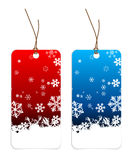 Christmas tags with snowflakes Royalty Free Stock Images
