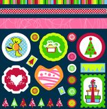 Christmas tags vector. Christmas tags, buttons and labels with gifts, snowflakes, Christmas trees and teddy bear designs in Vector format stock illustration