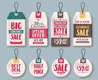 Christmas tags vector template set and price tags in white paper with sale text. Christmas tags vector template set and price tags in white paper with sale Stock Photo