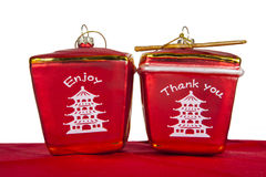 Christmas Take Out. Two Chinese take out box ornaments against a white background Stock Image