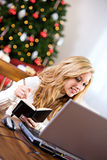 Christmas: Taking Notes On Online Gift Stock Photos