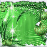 Christmas Tale. Card Christmas story. With beautiful beads, Christmas balls and tree branches Royalty Free Stock Image