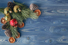 Christmas tale. The frame of the trees.Themes Christmas decorati. Ons, fir cones, snow and festive mood Royalty Free Stock Photography