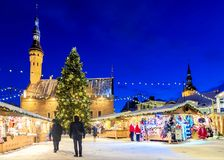 Christmas in Tallinn. Holiday Market at Town Hall Square stock image