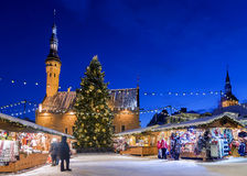 Christmas in Tallinn. Holiday Market at Town Hall Square Royalty Free Stock Photography