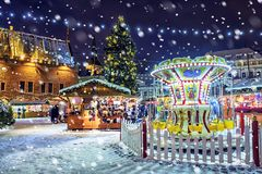 Christmas in Tallinn. Town Hall Square with Christmas Fair.  royalty free stock images