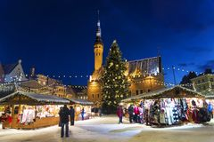 Christmas in Tallinn. Town Hall Square with Christmas Fair royalty free stock images