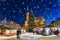Christmas in Tallinn. Town Hall Square with Christmas Fair royalty free stock photos