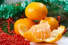 Christmas tangerine Stock Photography