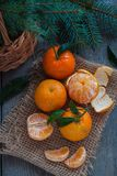 Christmas tangerines, old wooden background, russian new year tradition. Toned Royalty Free Stock Image