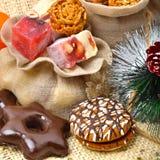 Christmas tangerines, turkish sweet; lokum, pinecone and brittle Stock Image