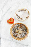Christmas  tart with mincemeat and tart with marzipan tree Stock Images