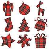 Christmas tartan icons Stock Images