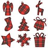 Christmas tartan icons. Group of tartan christmas shapes stock images
