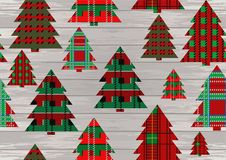 Christmas tartan texture. Background with christmas tree Royalty Free Stock Photo
