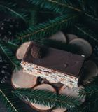 Christmas tasty cake on dark wooden background with spruce decoration. Stock Images