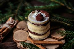 Christmas tasty cake on dark wooden background with spruce decoration. Stock Photos