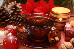 Christmas tea. Festive table setting for Christmas and tea Royalty Free Stock Image