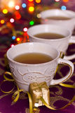 Christmas tea. On colorful background Royalty Free Stock Photography