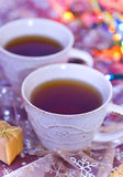 Christmas tea. On colorful background Royalty Free Stock Photos