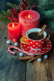 Christmas tea and candle Royalty Free Stock Images
