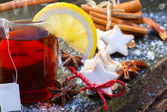 Christmas tea with cinnamon and lemon Royalty Free Stock Photo