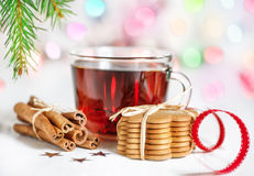 Christmas tea and cookies Royalty Free Stock Images