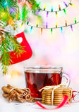 Christmas tea and cookies Royalty Free Stock Image