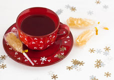 Christmas tea and crystal sugar Stock Photos