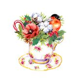 Christmas tea cup - bird, fir tree, mistletoe, cotton, new year candy cane. Vintage watercolor for tea time. Christmas tea cup - bird, fir tree, mistletoe royalty free stock photo