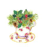 Christmas tea cup - christmas tree branches, mistletoe. New year watercolor for teaparty Royalty Free Stock Images
