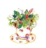 Christmas tea cup - fir tree, mistletoe, feathers. Vintage watercolor Royalty Free Stock Photos