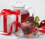 Christmas tea and gift Stock Photo