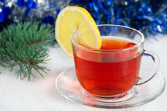 Christmas tea with lemon Stock Images