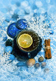 Christmas tea with lemon and decorations Stock Image