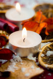 Christmas tea light candle Royalty Free Stock Images