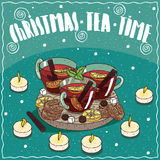 Christmas tea in mugs with sweets and cookies Royalty Free Stock Photos