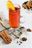 Christmas tea with orange Royalty Free Stock Photos