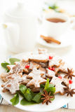 Christmas Tea Party. Cookies and tea Stock Photos