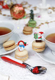 Christmas tea party with macarons, sweet meringue-based Stock Image